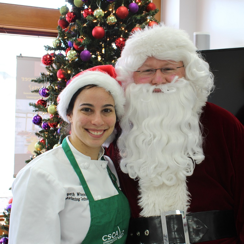 Beth and Santa at the 2017 Bake Sale